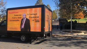 OHH advertising in political campaigns, such as a digital mobile billboard from CantMissUs